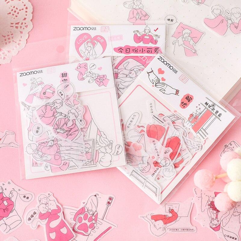 Kawaii serie de pequeños personajes Kawaii pegatinas planificador Scrapbooking papelería pegatinas de diario japonés