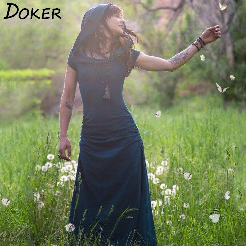 2019 Vintage Kaleidoskop Hohl Kleid Wald Elven Gypsy Robe Kleid Festival Kleidung Frauen Boho Romantische Gerade Maxi Kleid