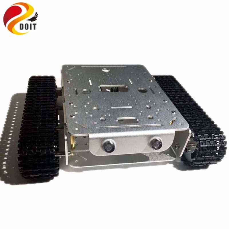 4WD Tracked Robot Smart Chassis with Aluminum Alloy Wheels/Frame 2 Motors for Modification Tank Model Robot Project RC Toy enlarge