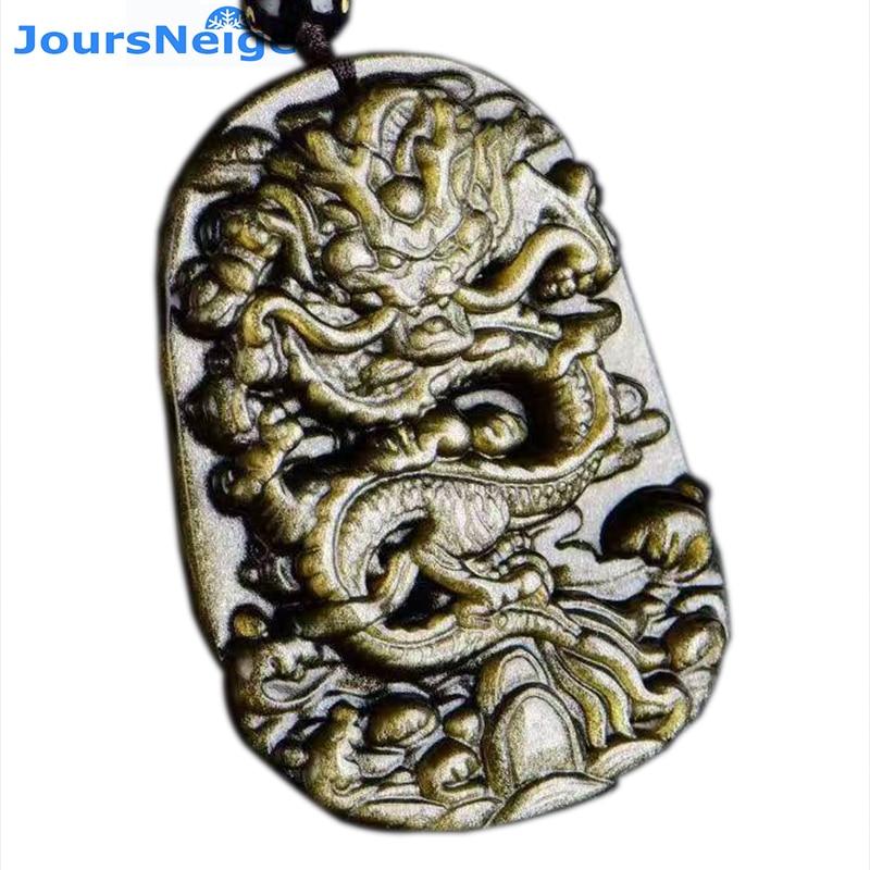 JoursNeige Natural Golden Obsidian Dragon Pendants Stone Necklace Beads  Women Man Golden Obsidian Chain Jewelry Accessories