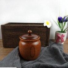 Mini théière en bois massif de 8x8.3cm   Rétro, naturel et marchandises, pour le bois de jujube/petit stockage, une petite théière