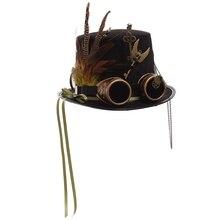 Fedoras noir plume pour femmes   Équipement Steampunk, chapeau haut-de forme avec google
