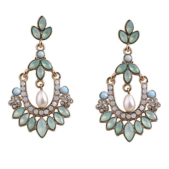 Moda Bohemia perla simulada azul gema flor hueco pedante pendientes colgantes joyería al por mayor 12 pares