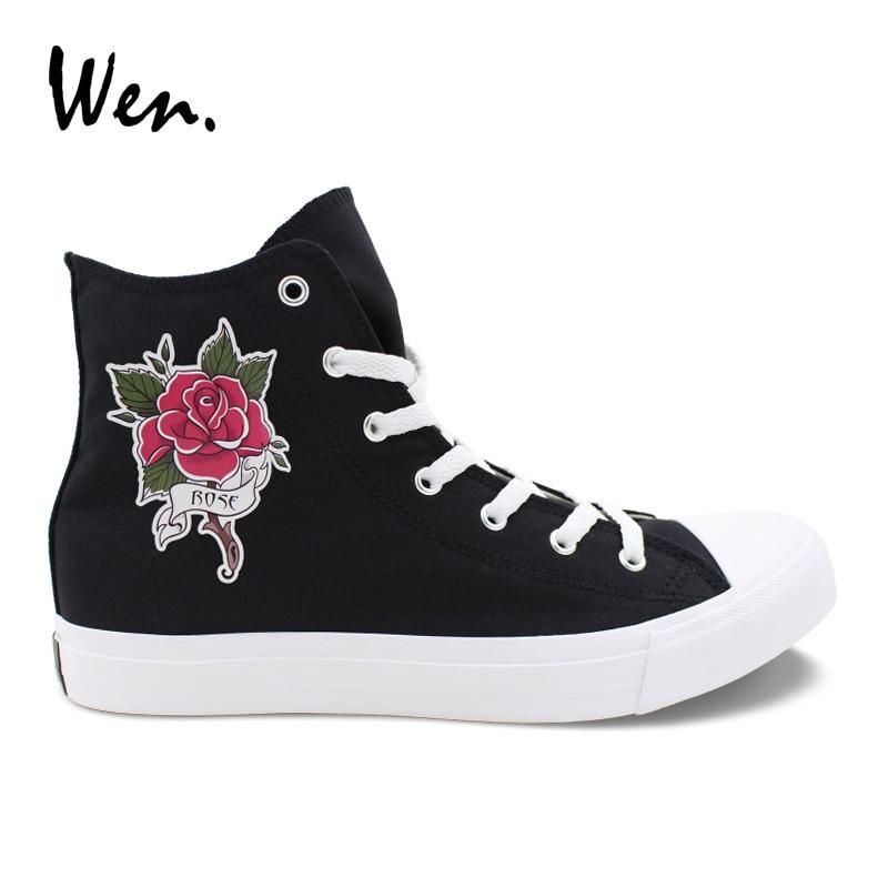 Wen diseño Original rojo rosa flor tatuaje San Valentín amantes zapatos alta superior negro lona zapatillas mujeres hombres parejas Plimsolls