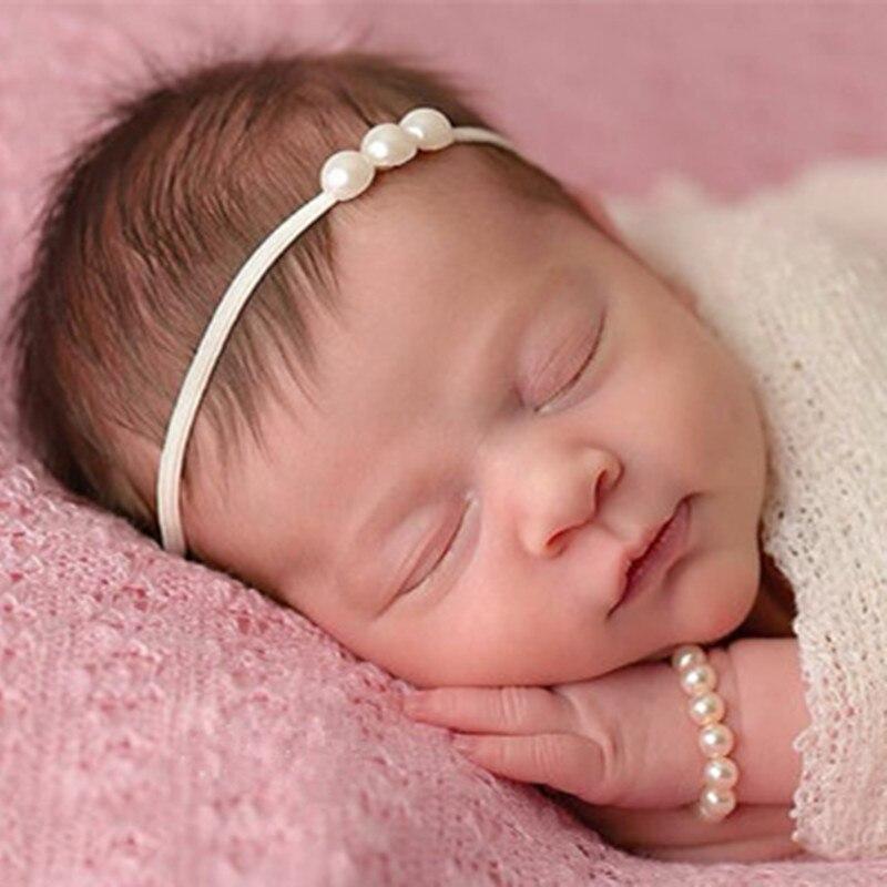 Novo 2019 1 pc jóias de cristal recém-nascidos bandana bling pérola strass bandana crianças meninas fotografia adereços para o presente