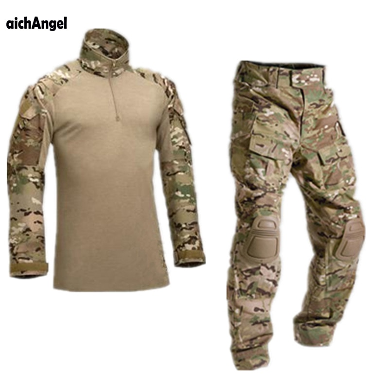 AichAngeI-زي عسكري مموه تكتيكي, طقم ملابس للرجال ملابس الجيش الأمريكي قميص قتالي عسكري + سروال بوسادات للركبة