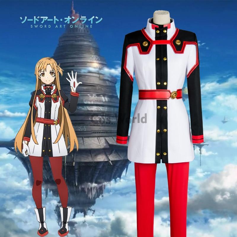 Schwert Art Online SAO Film Ordinal Skala Yuuki Asuna Mantel Tops Hosen Uniform Anime Outfit Cosplay Kostüme