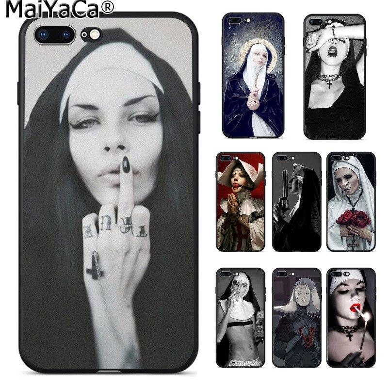 MaiYaCa hermana monja Jesús Saint DIY de lujo de alta-caso Protector para Apple iPhone 8 7 6 6S Plus X XS X MAX 5 5S SE XR cubierta