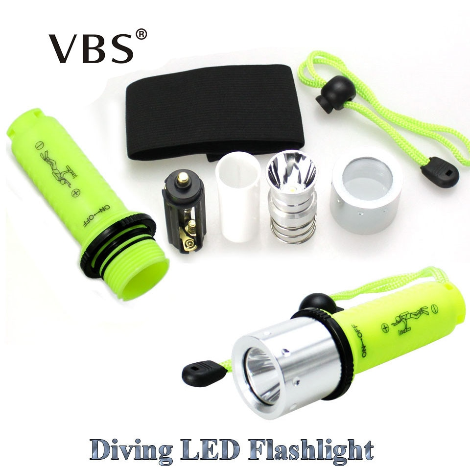 Tocha de mergulho poderosa lanterna led cree q5 xpe/XML-T6 led tocha cree led lanterna led não 1x18650 bateria
