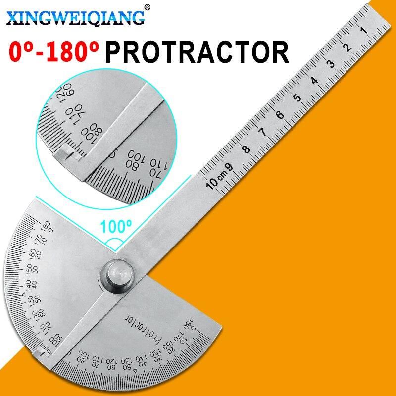 0-180grados 10cm regla angular goniómetro transportador de acero inoxidable cabeza redonda regla de carpintería ángulo Esquina cuadrada prueba