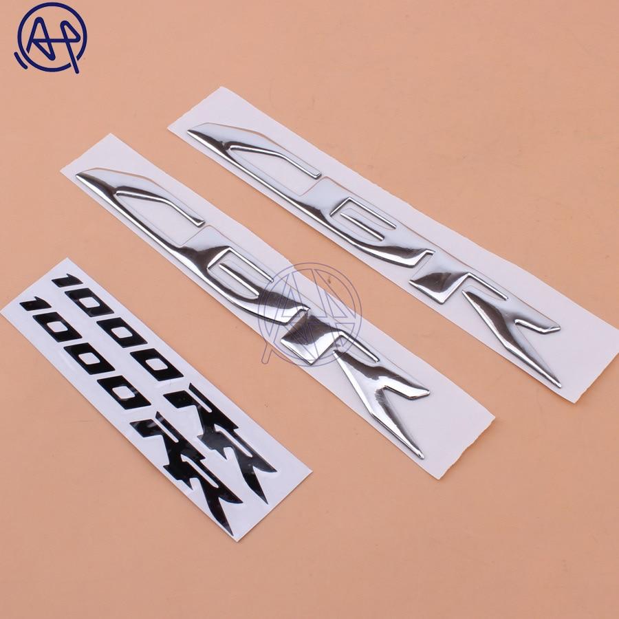 1 par CBR CBR1000RR emblema de tanque de combustible de la motocicleta pegatina elevada 3D para Honda CBR1000RR 2004-2014 cromo
