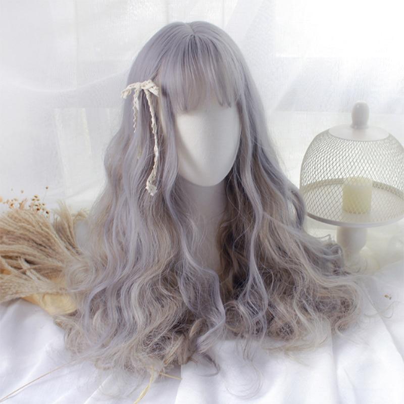 Bonito longo encaracolado peruca de cabelo cosplay peruca sintética lolita kawaii cabelo cinza moda feminina meninas lolita peruca bonito único