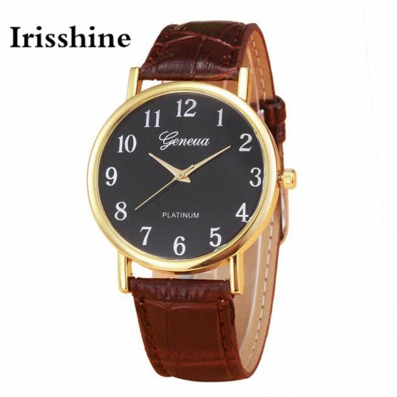 Irisshine b08 marca de luxo unisex relógios relógio menina senhora presente das mulheres dos homens design retro pulseira couro analógico liga quartzo relógio