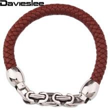 9mm tressé corde homme Bracelet en cuir marron noir cuir w acier inoxydable byzantin lien Bracelet environ 8.66 pouce LLBM27