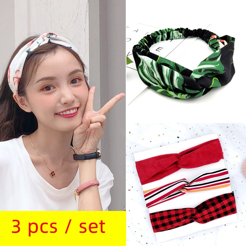 3pc Fashion Colorful Knot Headband Summer Style Flower Hair Accessories for Women Girls Turban Elastic Hairband Head Wrap W277