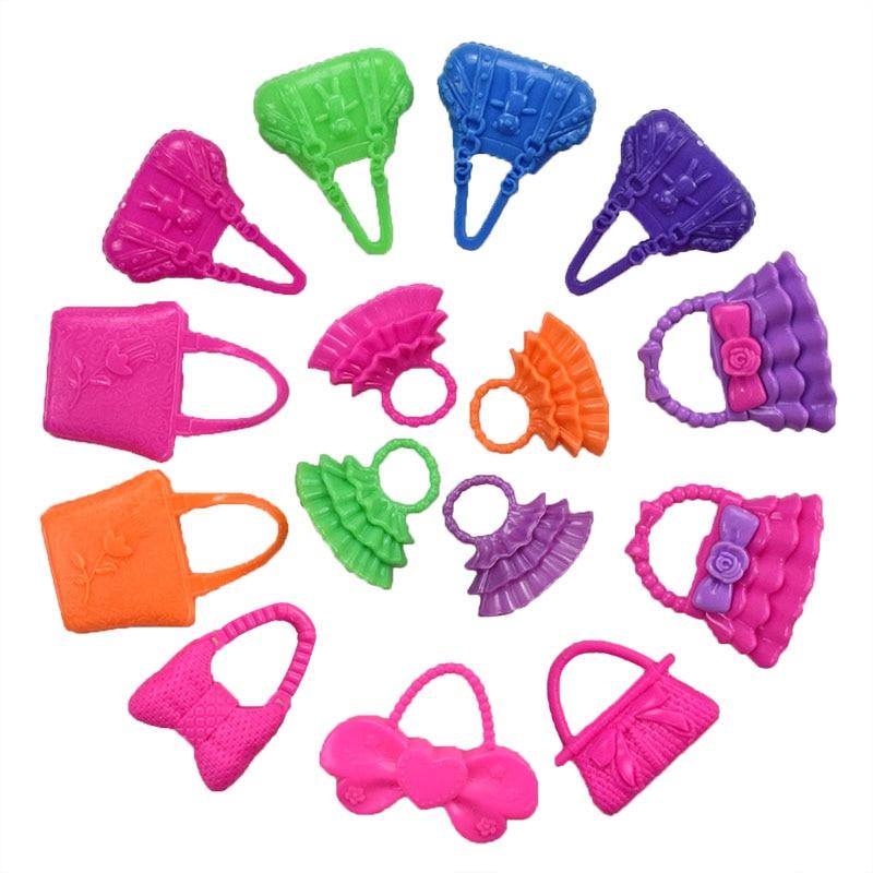 32 Item/Set Doll Accessories=10 Pcs Doll Clothes Dress+4 Glasses+6 Plastic Necklace+2 Handbag+10 Pairs Shoes for Barbie doll