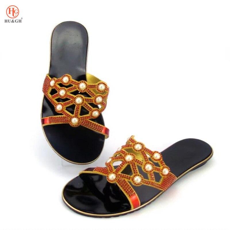 ¡Novedad! Zapatos de tacón bajo sexis para mujer de Color rojo italiano, zapatillas de mujer con diamantes de imitación, sandalias de mujer, zapatos de moda africana para fiestas