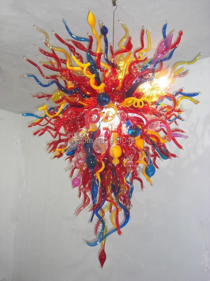 Candelabro de cadena de Art Decó moderno de moda LED Murano cristal multicolor flor forma única lámpara de araña de cristal