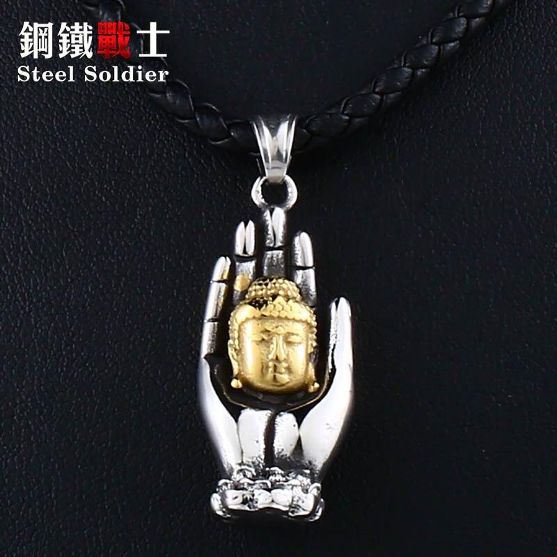 Soldado de acero, el mejor regalo, Buddha recumbency plam, Budismo Vintage para Asia, joyas de religión para collar, joyería para mujer