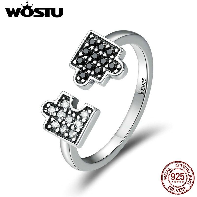 WOSTU Аутентичные 100% 925 пробы серебро Гламурные головоломки прозрачные CZ открытые кольца на палец для женщин ювелирные изделия из стерлингового серебра CQR180