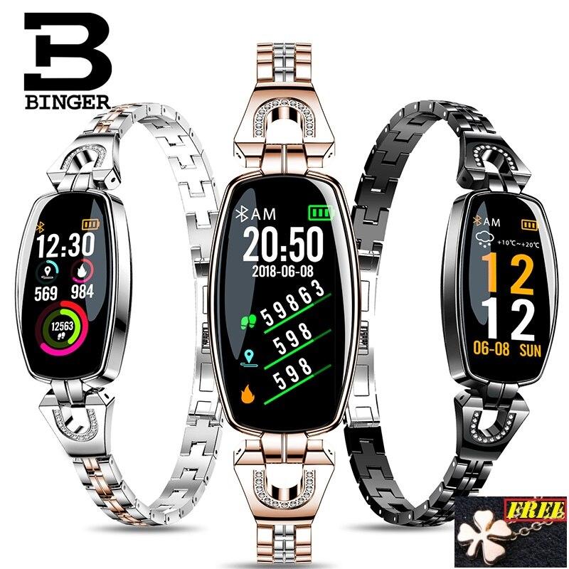 BINGER-pulsera inteligente de mujer, reloj inteligente deportivo con control del ritmo cardíaco y de la presión sanguínea, y rastreador de moda 2019