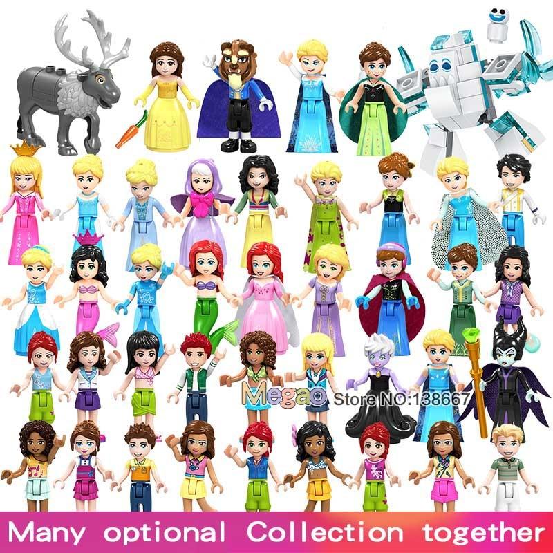 Venta única princesa niñas Belle Beast Mulan Anna Elsa Cenicienta película bloques de construcción regalo juguetes para niños