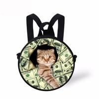 Noisydesigns rugzak meisje money cats Backpack for Toddler Kids Round Design Boy Girls School Bagpack Preppy Child Baby Bookbag