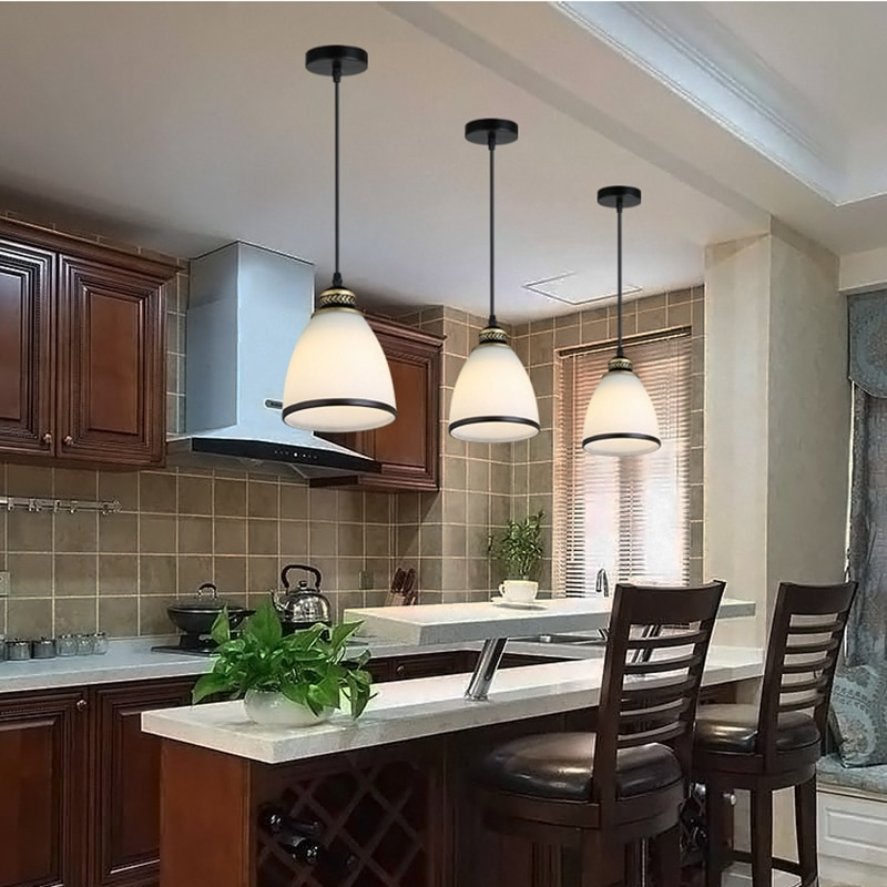 LukLoy-مجموعة من 3 مصابيح زجاجية معلقة ، تصميم حديث وبسيط ، جزيرة المطبخ ، غرفة الطعام ، بار ، مطعم ، طاولة طعام ، مصباح زجاجي أبيض