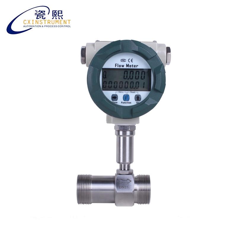 DN4 de flujo de la turbina líquido medidor pantalla LCD with4-20mA salida tornillo conexión medidor de flujo