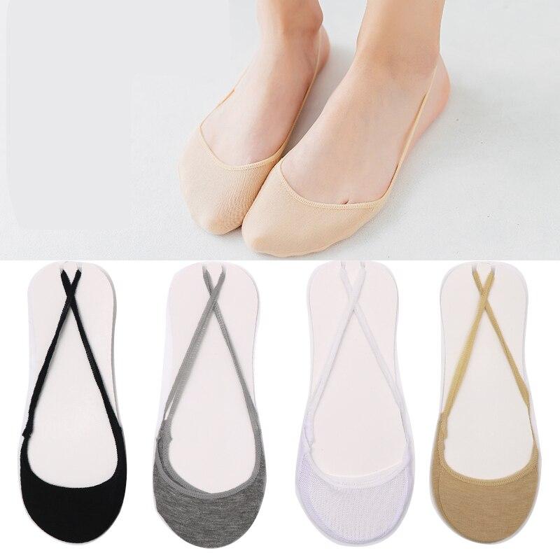 10 Uds 5 pares algodón cómodo solid media suela cubierta zapatillas calcetines invisibles para mujeres niñas Thin zapatos de tacón alto calcetines Meais