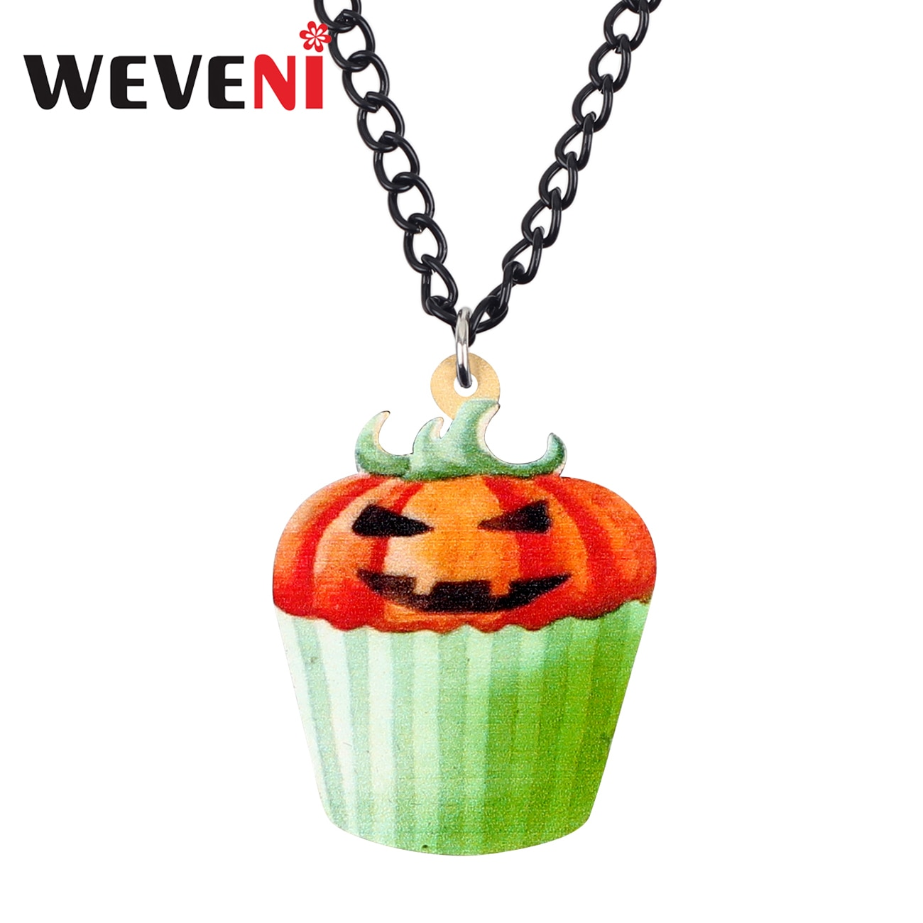 WEVENI acrílico Halloween feliz calabaza Cupcake COLLAR COLGANTE Collier lindo comida joyería para mujeres niñas adolescentes regalo Bijoux 2019
