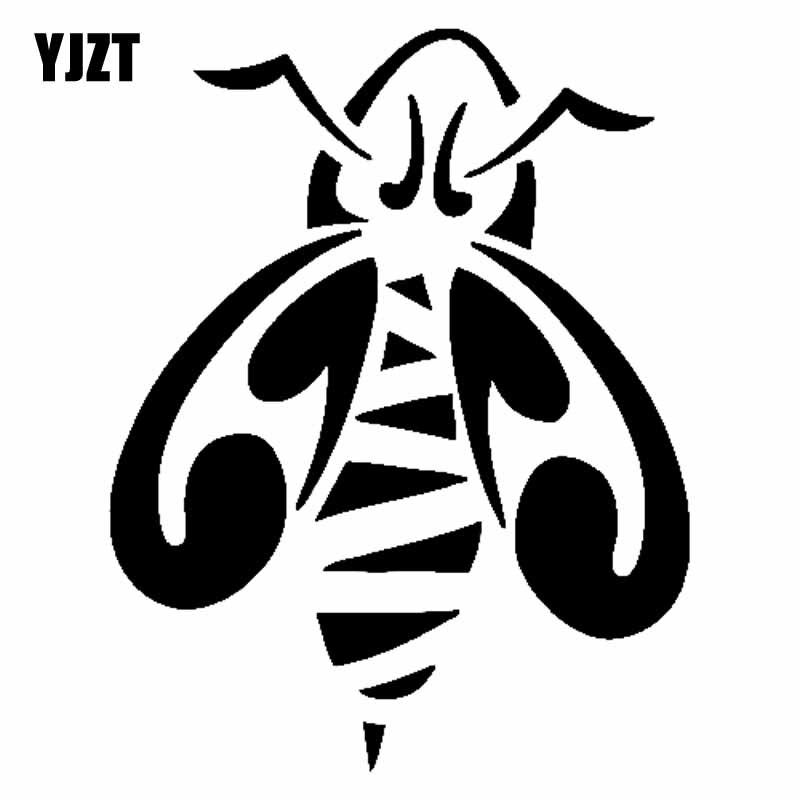 Yjzt 15.1cm * 19cm mel abelha etiqueta do carro vinil decalque bstract preto/prata C19-0139