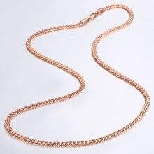 3mm cienkie naszyjniki dla kobiet dziewczyn 585 różowe złoto Curb kubański Link Chain kobieta naszyjniki prezenty walentynkowe 45cm-60cm GN220A