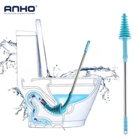anho toilet brush plunger stainless steel long handled with wall hook dredge cleaned flexible sewer pipe clogging household tool