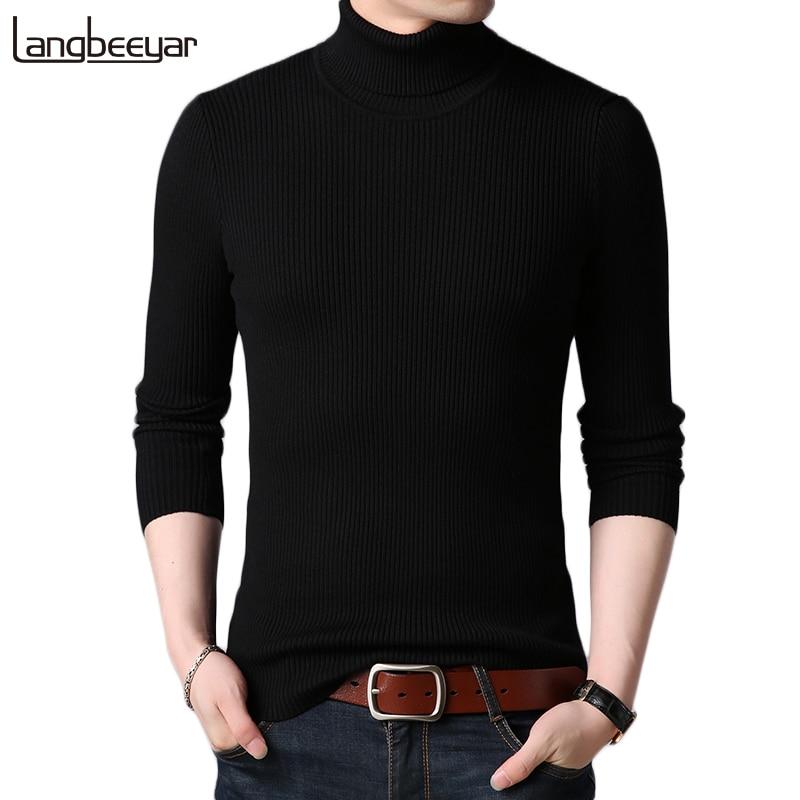 Hot 2021 New Autumn Winter Brand  Men black Turtleneck Slim Fit Winter Pullover Men Solid Breathable Color Knitted Sweater Men