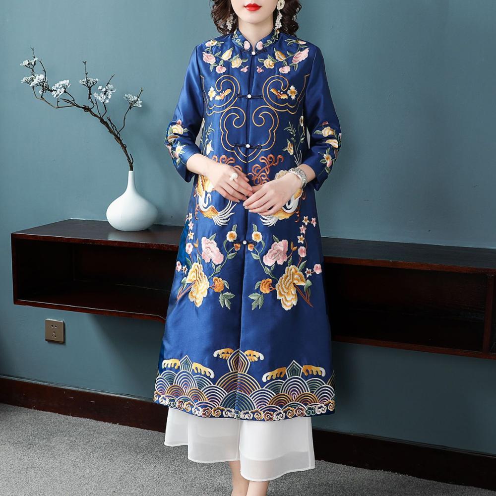 Chaquetas largas de estilo chino con bordado para mujer