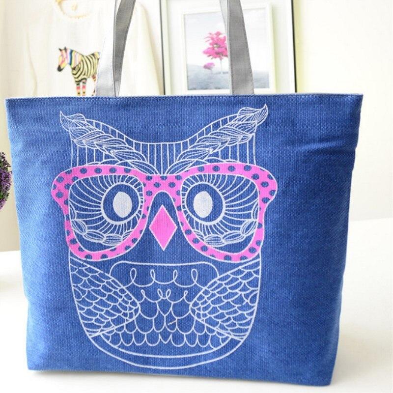 Canvas Shoulder Bag Women 2019 Fashion Casual Owl Printing Lady Cartoon Handbag Large Tote Purse Shopping Bag fast shipping