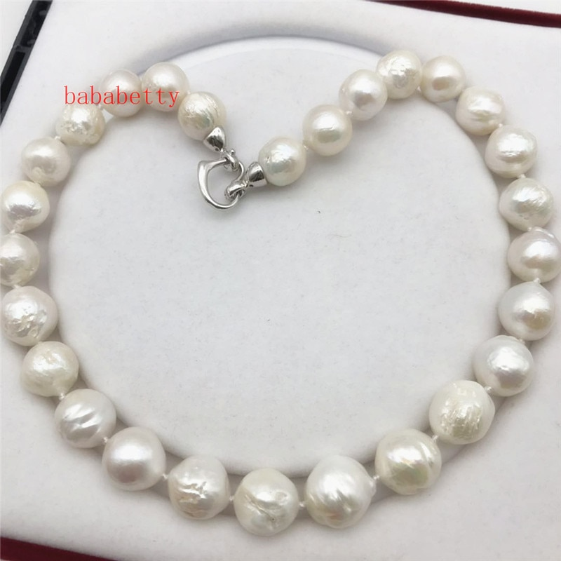 """Nuevo hermoso 13-15mm brillo Natural surco Kasumi collar de perlas 18"""""""