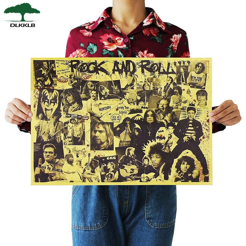 Carteles de música DLKKLB Rock And Roll, famosa cantante de Rock, decoración personalizada para Bar o habitación, Papel Kraft 51.5X36cm, pegatina de pared