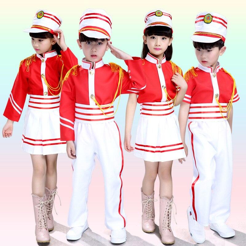 Traje de equipo de tambor para niños, puesta en escena uniforme escolar, uniforme de tambor Majorette, disfraz de niño, Top + falda/pantalones + sombrero 18