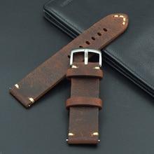 Rétro cuir véritable 18 19 20 21 22mm hommes excellent Bracelet de montre Bracelet pour Seiko Mido pour Omega fossile ceinture Bracelet bracelets