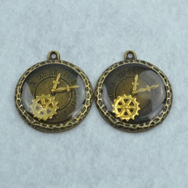 5 pcs Enamel charms antique bronze metal watch pendants fit diy necklace bracelet charms for Jewelry making 1781