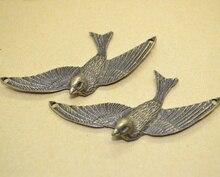 5 шт., подвеска под бронзу, плакированная на старину птица подвеска, подвески из металлического сплава, для самостоятельного изготовления юв...