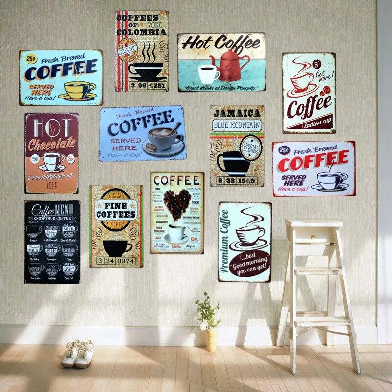 Kahve kutusu işaretleri Metal plakalar duvar Bar ev sanat zanaat dekor demir Poster Cuadros 30X20CM A-5230