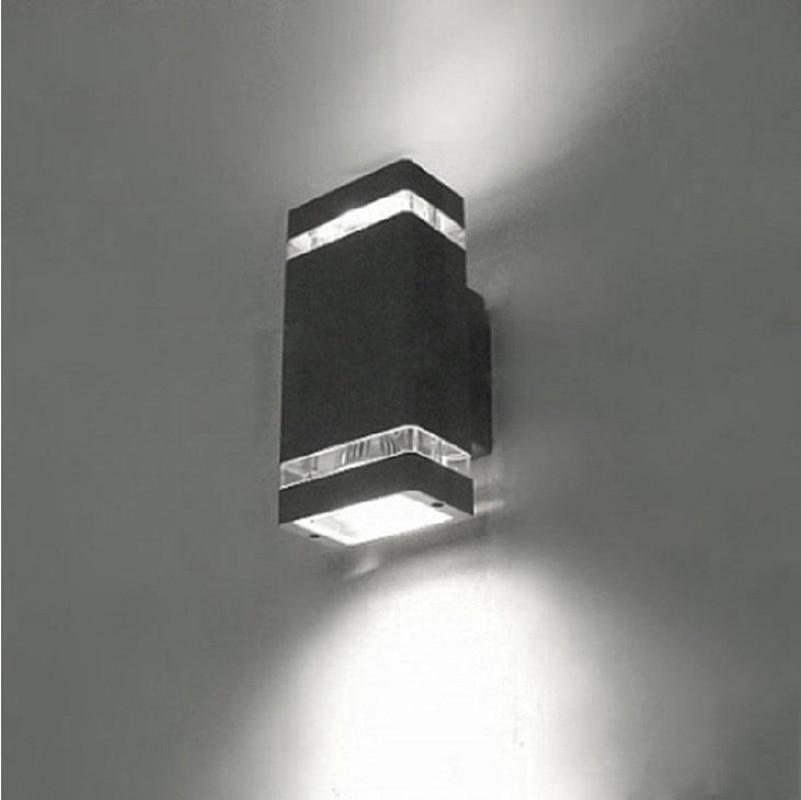 Up/Down Indoor/Outdoor Exterior Wall Walkway Stairs Corridor Light Sconce Lamp Fixture Kit Waterproof 2x 4W-GU10-LED-Bulbs