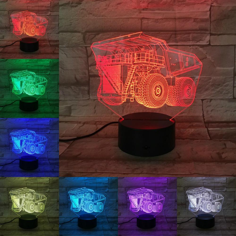 Night Light Luminaria Led Light Flashlight Armored Car Tractor 3D Lamp Bedroom Decor Gifts for Kids Children Led Lighting Abajur