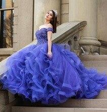 Luxus Royal Blue Quinceanera Kleid Weg Von der Schulter Perlen Mieder Tüll Rüschen Ballkleid Mädchen Süße 16 Kleider Plus Größe kleid
