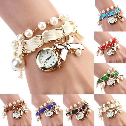 Reloj de pulsera de cuarzo analógico con banda de cuero para decoración de Perla lazo con nudo para mujer 2KMC 6T4X 93YN