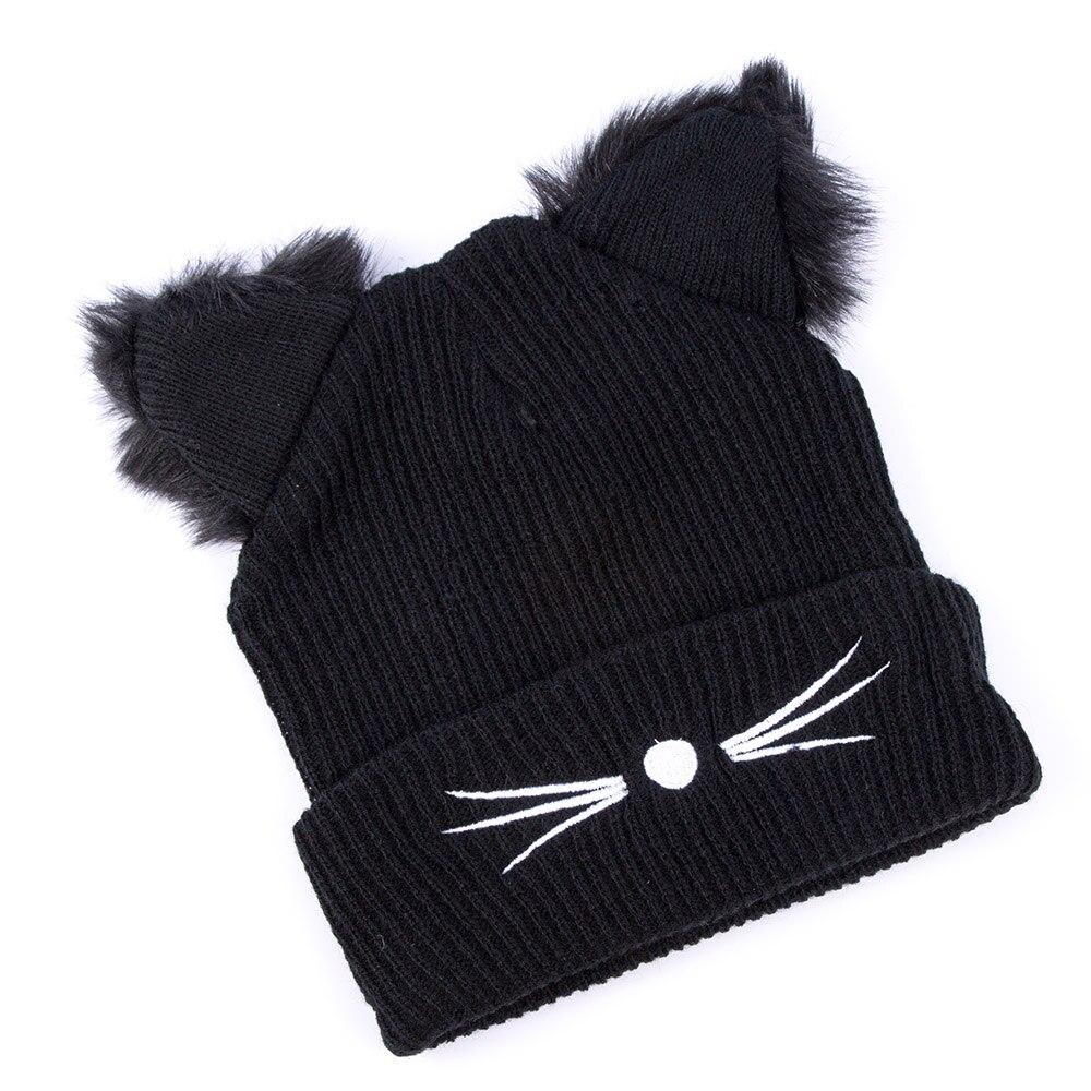 1 PC Outono Inverno Casual Mulheres Bordado Misturas de Algodão da Pele Do Falso Preto Pattern Cat Ear Hat Beanie Crochet Quente Venda knit Cap