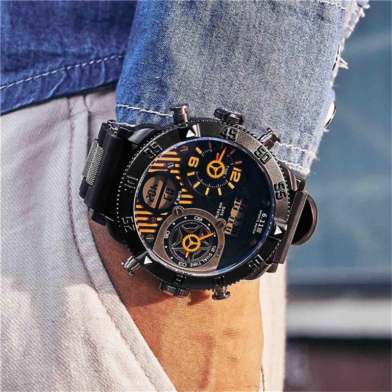 Nuevos relojes de moda de gran Dial para hombre, relojes deportivos de cuarzo Led de zona horaria múltiple, relojes creativos, reloj Digital resistente al agua para hombre